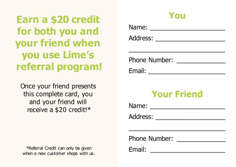 Lime Referral Post Card Back